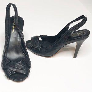 Cole Haan Air Natalie Bl Leather Slingback Heels 7
